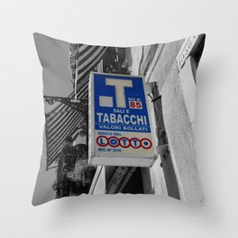 Blue Sign in Venice Black and White Photography Throw Pillow