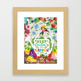 Keep Calm Ad Garden On Framed Art Print