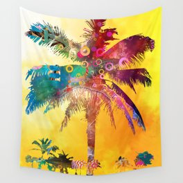 Palm Tree at Sunset Wall Tapestry