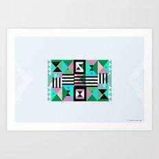 Blue Triangulation Art Print