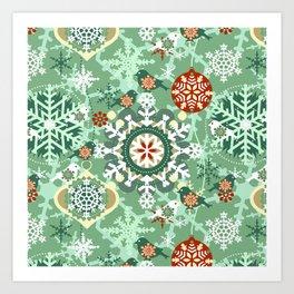 snow in garden Art Print
