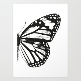 Monarch Butterfly | Right Butterfly Wing | Vintage Butterflies | Black and White | Art Print