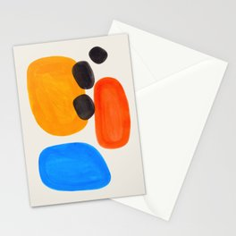 Minimalist Modern Mid Century Colorful Abstract Shapes Primary Colors Yellow Orange Blue Bubbles Stationery Cards