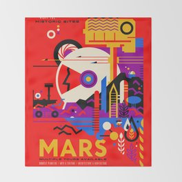 NASA Mars The Red Planet Retro Poster Futuristic Best Quality Throw Blanket