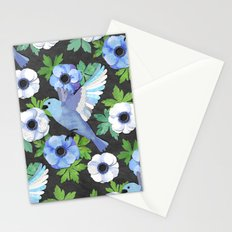 Blue Bird & Anemone Collage Stationery Cards