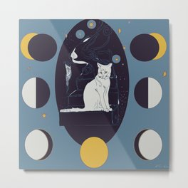 Kitty Ascension Moon Phase in Muted Blue Metal Print