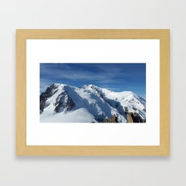 Awesome white snowy Mont Bla   nc Alps mountains in Italy, France, Europe on a beautiful winter day Framed Art Print