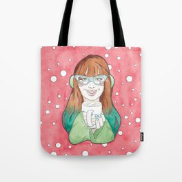 Merry Christmas / Blue Ombre Haired Noelle Drinking Hot Chocolate Tote Bag