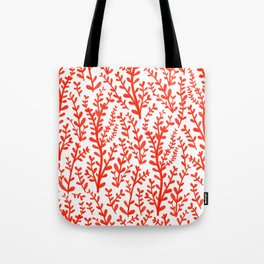 Red and White Floral Gouache Pattern Tote Bag