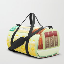 supermarket shelf coffee tea grains Duffle Bag