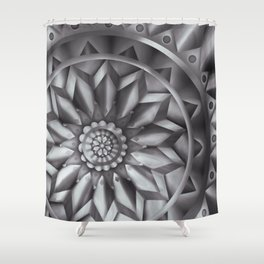 Black and White Minimalist Mandala Design Shower Curtain