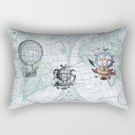 Hot Air Balloons on Antique Map - blue Rectangular Pillow