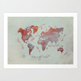 world map 142 red grey #worldmap #map Art Print