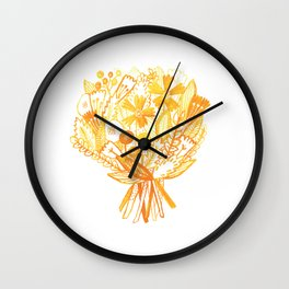 Yellow Bouquet Wall Clock