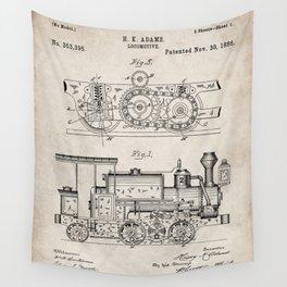 Steam Train Patent - Steam Locomotive Art - Antique Wall Tapestry