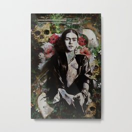 Frida Kahlo skulls and flowers Metal Print