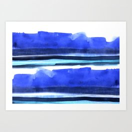 Wave Stripes Abstract Seascape Art Print