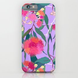 Australian Gumnut Eucalyptus Floral in Lilac Orchid iPhone Case