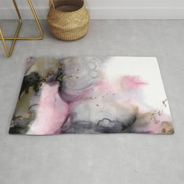Rosegarden, romantic abstract in pink, blush and gray watercolor effect with gold colored accents Rug