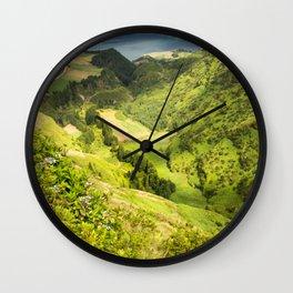 lime green landscape Wall Clock