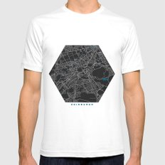 Edinburgh city map black colour SMALL Mens Fitted Tee White