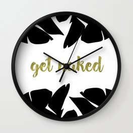 Get Naked Gold, Banana Leaves Black and White Wall Clock