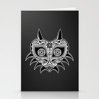 majoras mask Stationery Cards featuring Sugarskull / Majoras mask / black'n'white by tshirtsz