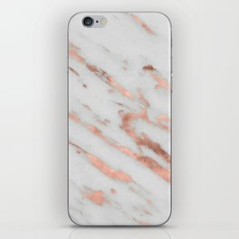 Marble - Rose Gold Marble with White Gold Foil Pattern iPhone Skin