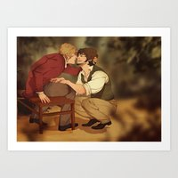 grantaire Art Prints featuring Enjolras/Grantaire by Marta Milczarek
