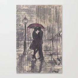 Silouette lovers on rainy street Canvas Print