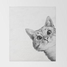 sneaky cat Throw Blanket