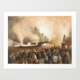 Coronation of Alexander II, Moscow, September 17, 1856 Fireworks Display before the Cadets' Building Art Print