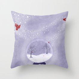 Cardinals in Snow Globe Throw Pillow