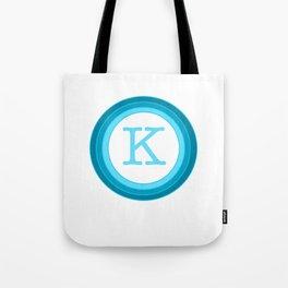 Blue letter K Tote Bag