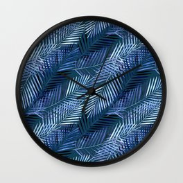 Blue palm leaves. Wall Clock