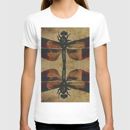 Dragonfly Mirrored on Leather T-shirt