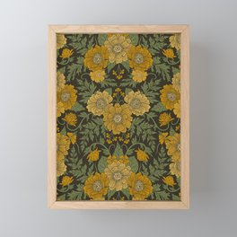 Dark Fall/Winter Floral in Yellow & Green Framed Mini Art Print