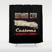 gotham Shower Curtains featuring G City customs by Buby87