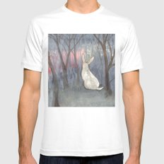 Forest Dawn MEDIUM White Mens Fitted Tee