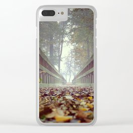 Scenic Nature Photograph Bridge in Autumn Clear iPhone Case