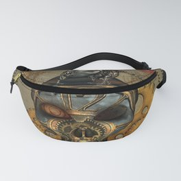 Steampunk, awesome steampunk skull with steampunk rat Fanny Pack