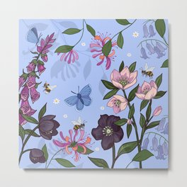 Hellebores, Honeysuckle and Foxglove Metal Print