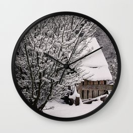 OLD SHED IN SNOW Wall Clock