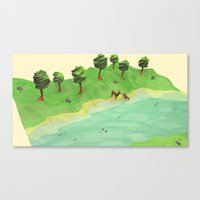 low poly Canvas Prints featuring Down River (Low Poly) by error23