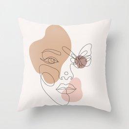 Mid Century Woman Face Boho Minimal Abstract Throw Pillow