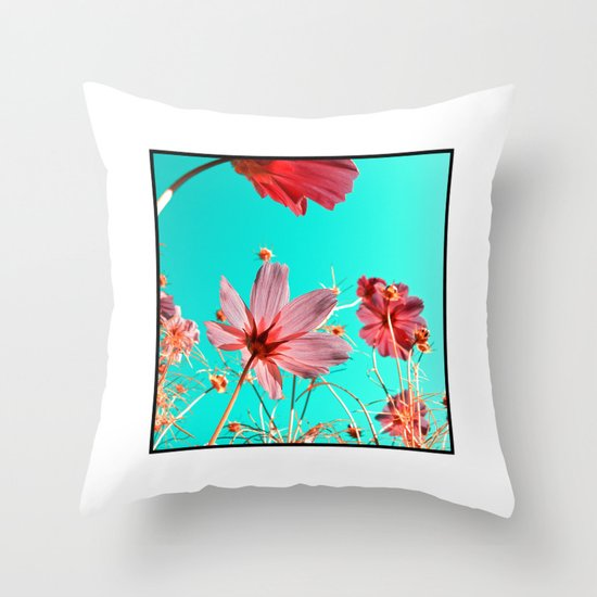 cosmos flowers abstract I Throw Pillow