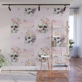 Floral Skull Pattern Wall Mural