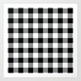 Buffalo Check Black White Plaid Pattern Art Print