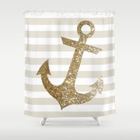 gold glitter Shower Curtains featuring GLITTER ANCHOR IN GOLD by colorstudio
