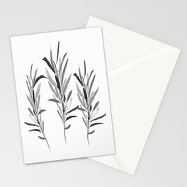 Eucalyptus Branches Black And White Stationery Cards